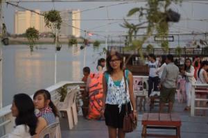 di atas kapal Sungai Mekong